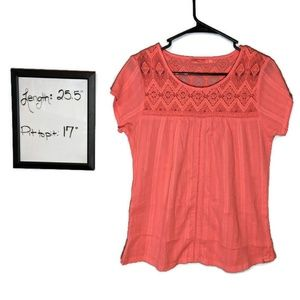 PrAna Crochet Accent Tee Shirt Medium Coral